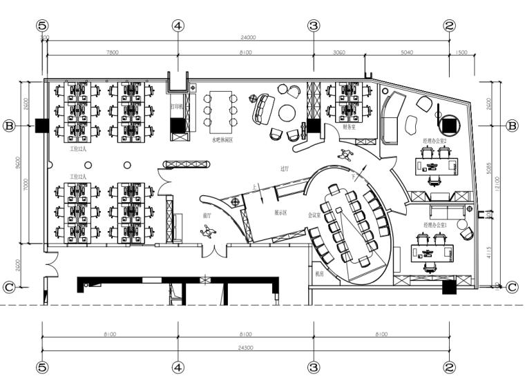 [浙江]庭茂实业办公室装修施工图设计