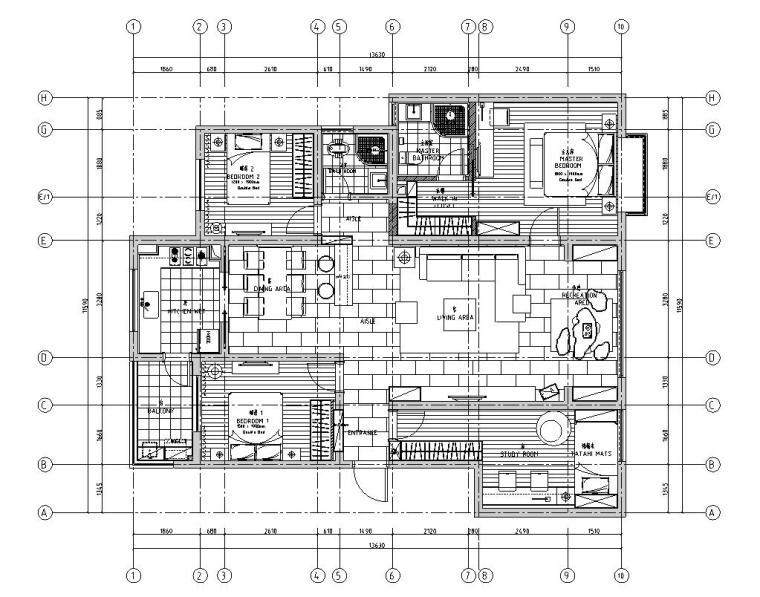现代风格-四室两厅住宅装修施工图+效果图