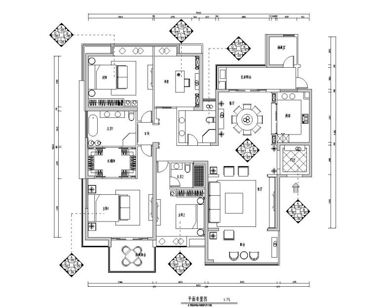 现代简约风格-四室两厅住宅装修施工图+效果