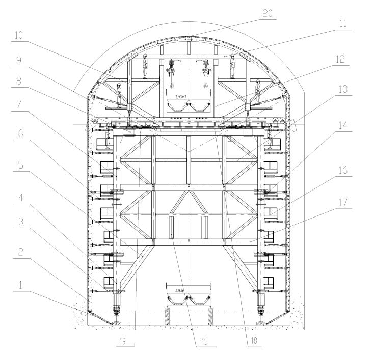 液压自行式斜洞常态砼浇筑台车发明专利
